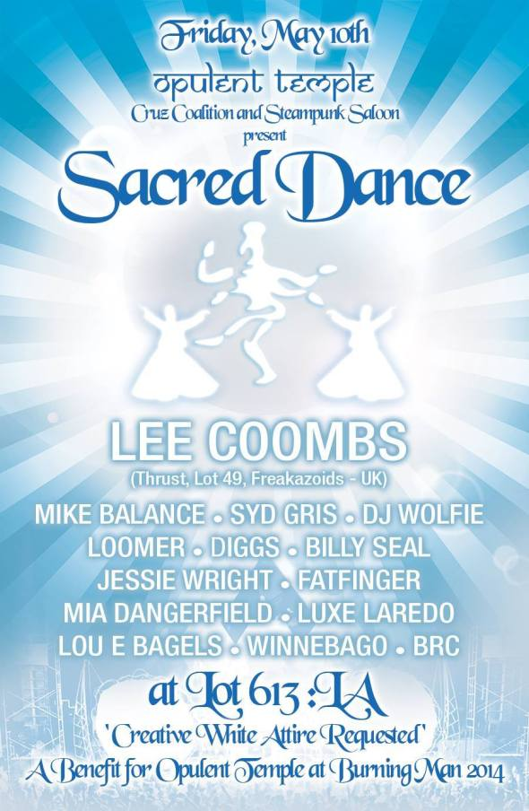 Lee Coombs headlines Opulent Temples 'Sacred Dance', LA Friday 10 May!